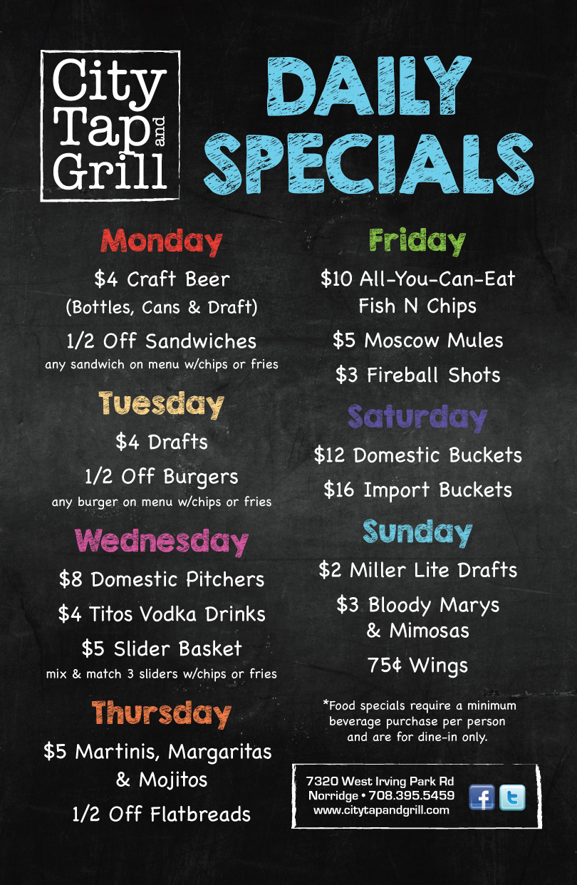 Daily Specials – City Tap and Grill